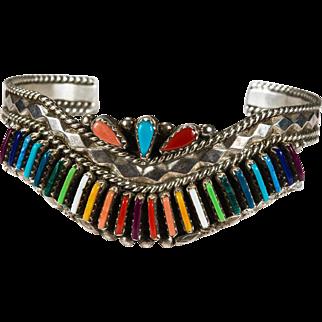 Native American Rainbow Mixed Stone Needlepoint Sterling Cuff Bracelet