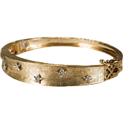 Diamond Star Spangled Bangle 14k Gold Diamond Bracelet Hinged Cuff