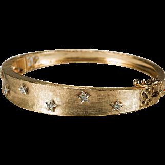 Diamond Star Spangled Bangle 14k Gold Diamond Bracelet Hinged Cuff
