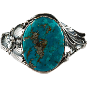 Deep Blue Turquoise Cuff Bracelet 925 Sterling Silver Turquoise Bracelet