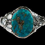 Deep Blue Turquoise Cuff Bracelet 925 Sterling Silver Turquoise Bracelet