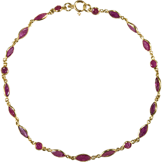 6ctw Ruby Bracelet 18k Gold Bezel Set Ruby Chain Link Bracelet By The Yard Gemstone Chain