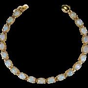 Natural Precious Opal Tennis Bracelet 14k Gold Opal Bracelet