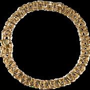 Heart Triple Link Charm Bracelet 14k Gold Charm Link Bracelet
