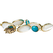 Vintage Chinese Dragon Turquoise Mother Of Pearl 14k Gold Turquoise Bracelet