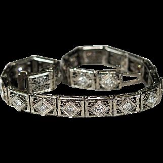 Old European Cut Diamond Bracelet 18k Gold Diamond Line Bracelet