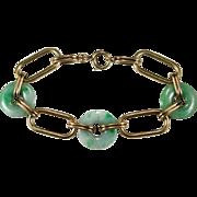 Jade Disc Bracelet 14k Gold Heavy Genuine Jade Link Bracelet