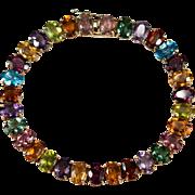 Tourmaline Peridot Citrine Amethyst Topaz Garnet Bracelet 14k Gold Mixed Gemstone Tennis Bracelet