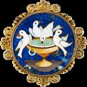 Antique Pliny's Doves Pietra Dura Lapis Brooch 14k Gold Pin