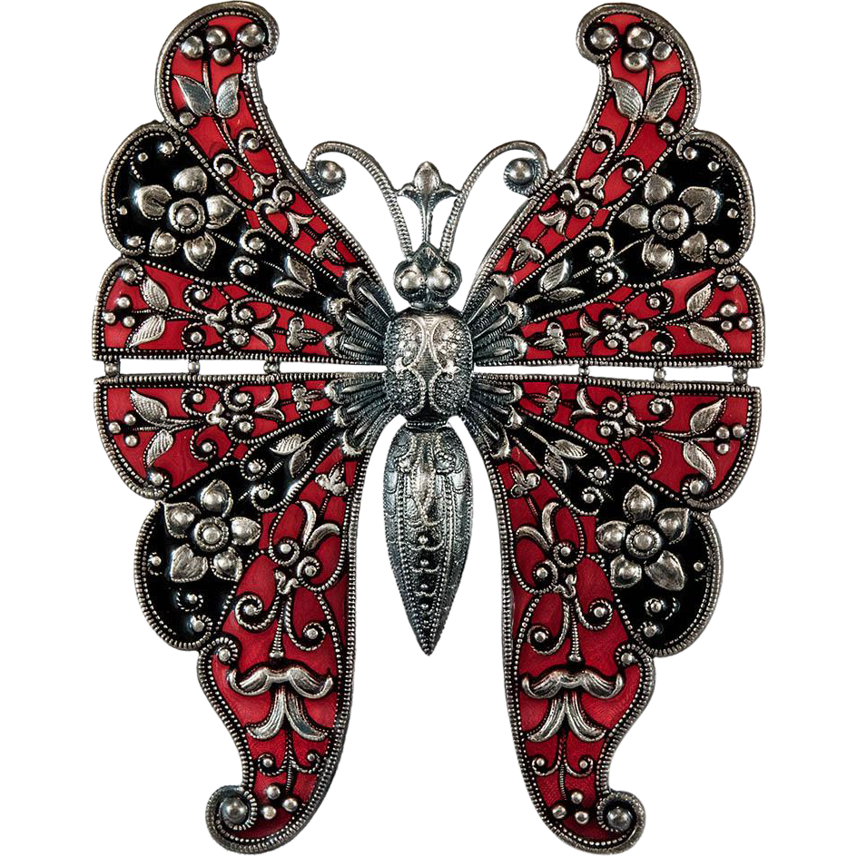 Rare art deco red amp black plique a jour butterfly silver brooch from