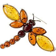 Natural Cherry Yellow Baltic Amber Dragonfly Brooch 925 Sterling Silver