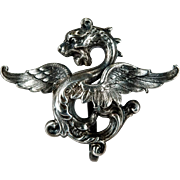 Griffin Watch Pin Sterling Gargoyle Watch Clip Brooch