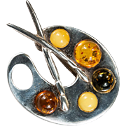 Natural Amber Artist Pallet 925 Sterling Silver Amber Brooch
