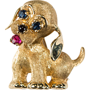 Ruby Sapphire Onyx Dog Brooch 14k Gold Dan Frere Puppy Pin