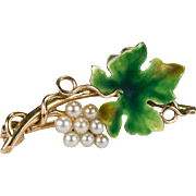 Pearl Grapes Enamel Leaf 14k Gold Grape Vine Brooch
