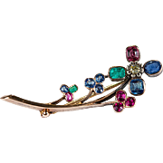 Victorian Yellow Diamond Old Mine Cut Ruby Sapphire Emerald Flower Brooch 3.10ctw 18k Gold Mixed Gemstone Brooch