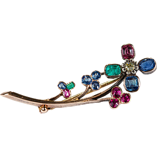Victorian Yellow Diamond Old Mine Cut Ruby Sapphire Emerald Flower Brooch 18k Gold Mixed Gemstone Brooch