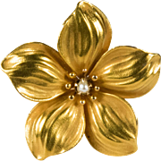 Victorian Plumeria Flower 10k Gold Hawaiian Flower Pearl Brooch