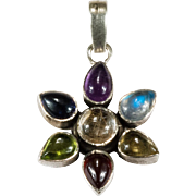 Mixed Gemstone Flower Pendant 925 Sterling Chakra Pendant Garnet Amethyst Rutilated Quartz Moonstone Pendant