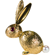 Ruby Pearl Bunny Brooch 14k Gold Cotton Tail Bunny Rabbit Brooch