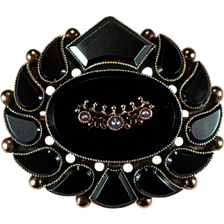 Black Onyx Seed Pearl Mourning Pendant 14k Gold Onyx Mourning Brooch