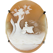 Carved Cameo Hand Crafted Sterling Silver Brooch