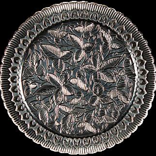 Antique Ivy Vine Heart Sterling Mourning Locket Photo Frame Mourning Brooch