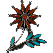Turquoise Coral Flower Brooch Sterling Silver