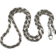 Vintage Heavy Link 925 Sterling Silver Italy Rope Chain