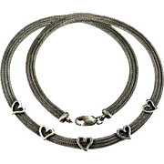 Old Italian Designer Sterling Mesh Hearts Necklace