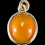 Glowing Orange Fire Opal Pendant 14k Gold Bezel Set Bracelet Charm
