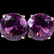 Huge 14ctw Solitaire Alexandrite Studs 585 14k Gold Pierced Stud Earrings