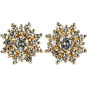 Diamond Stud Earrings 1.36ctw 14k Gold Jacket Diamond Studs
