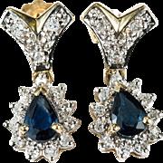 1.56ctw Natural Old Single Cut Diamond Sapphire Earrings 14k Gold Pierced Sapphire Diamond ...