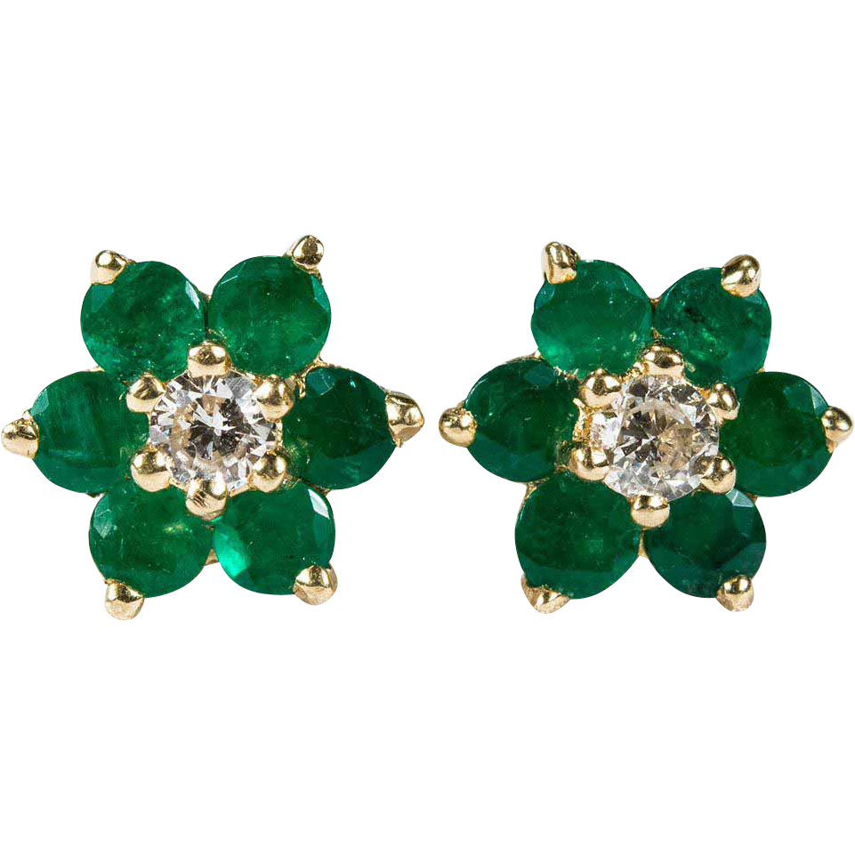 Natural Diamond Emerald Studs 14k Gold Pierced Stud Earrings Tanya S Treasures Ruby Lane
