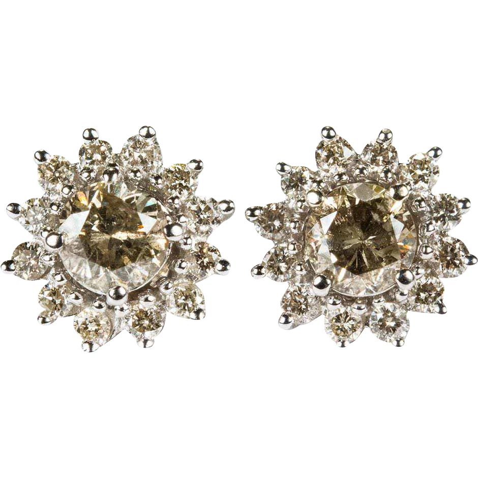 champagne tiger diamond de earrings collections orbis stud orbistertiusstudsyellow jewelry diamonds
