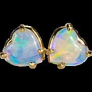 Natural Opal Heart Earrings 14k Gold Opal Stud Earrings