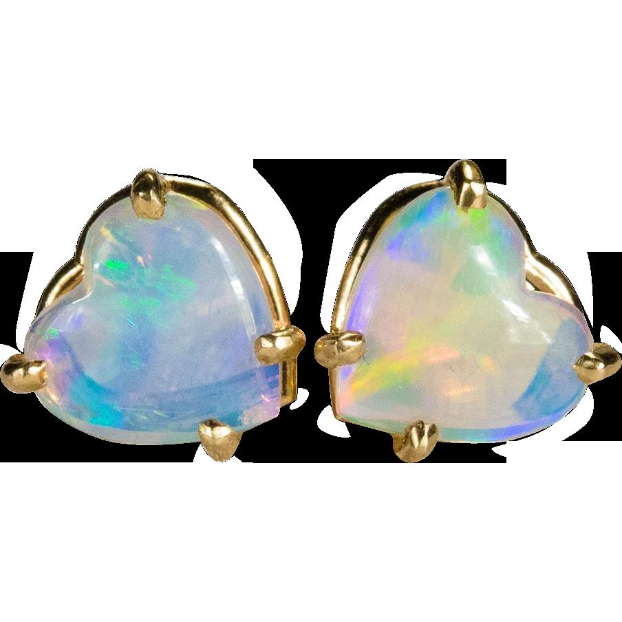 Natural Opal Heart Earrings 14k Gold Stud Tanya S Treasures Ruby Lane