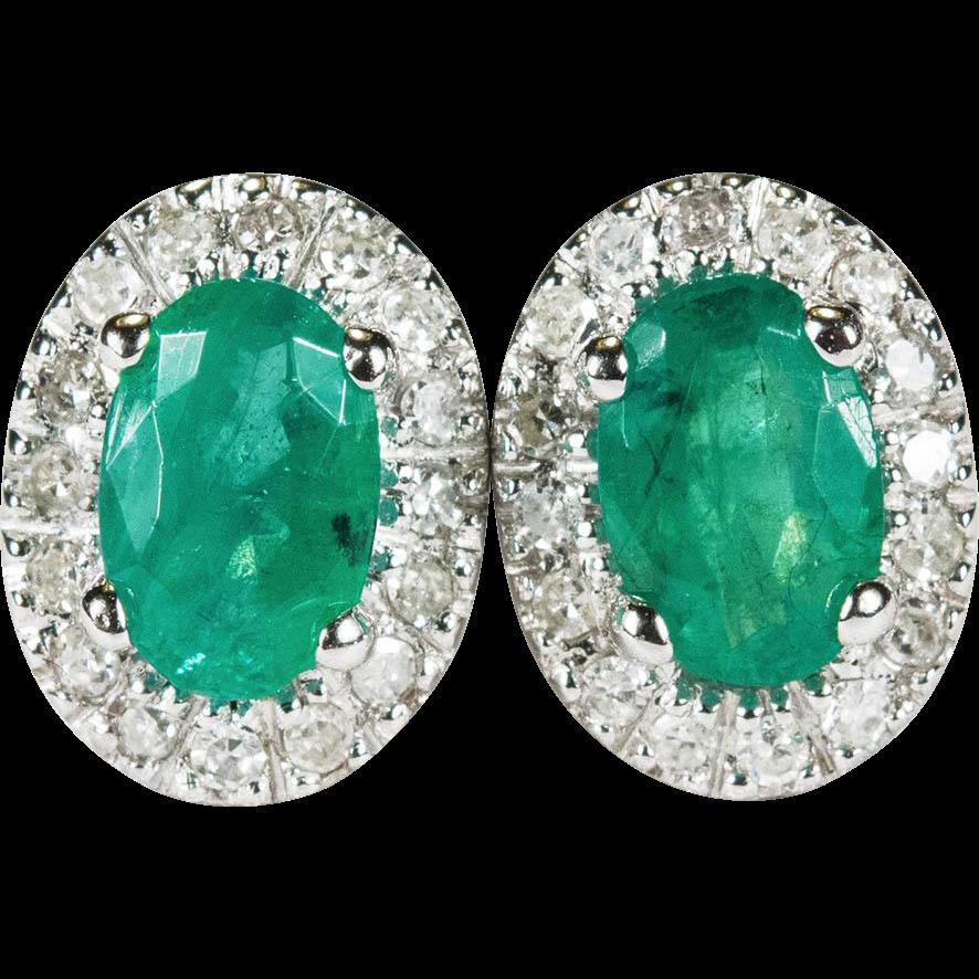 Vintage Genuine Emerald Diamond Earrings 10k Gold Pierced