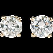 .87ctw Natural Diamond Stud Earrings 14k Gold Pierced Studs Solitaire Diamond Earrings
