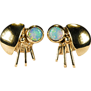 Natural Opal Ladybug Earrings 14k Gold Pierced Studs