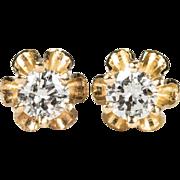 Vintage Solitaire Diamond Stud Earrings 14k Gold Diamond Buttercup Studs