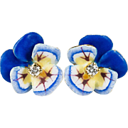 Art Nouveau Enamel Pansy Diamond Earrings 14k Gold Flower Studs