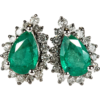 Genuine Emerald Diamond Earrings 750 18k Gold Emerald Studs