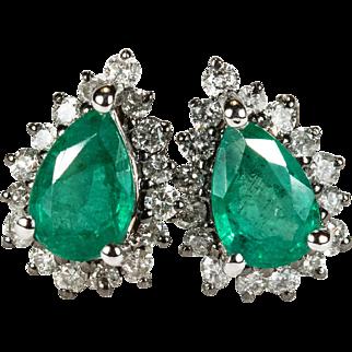 Genuine Emerald Diamond Earrings 750 18k Gold Emerald Studs