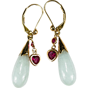 Jade Ruby Heart Charm 14k Gold Jade Earrings