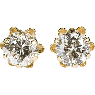 1.44ctw Solitaire Diamond Stud Earrings 14k Gold Buttercup Diamond Studs
