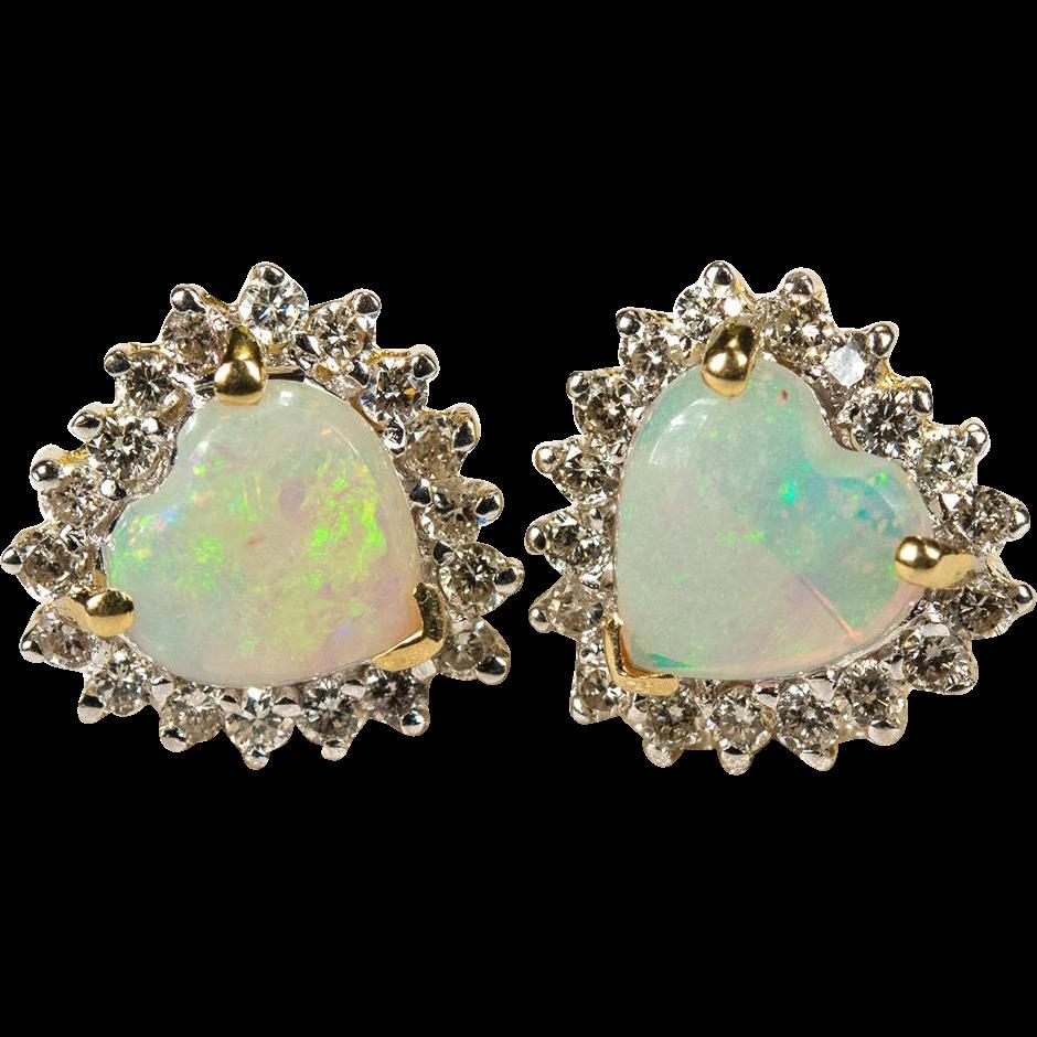 Natural Heart Opal Diamond Stud Earrings 14k Gold Opal Heart Studs