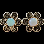 Daisy Flower Opal Stud Earrings 14k Gold Black Enamel Natural Opal Studs