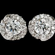 Incredible 1.15ctw Diamond Stud Earrings 14k Gold Screw Back Step Halo Diamond Studs